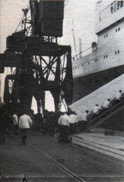 White Coated Stewards At Southampton Pier