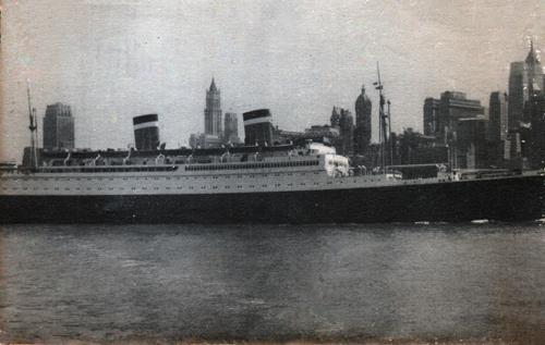 Uniited States Lines Ocean Liner Near New York Harbor