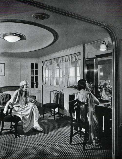 Women on board relaxing in their suite