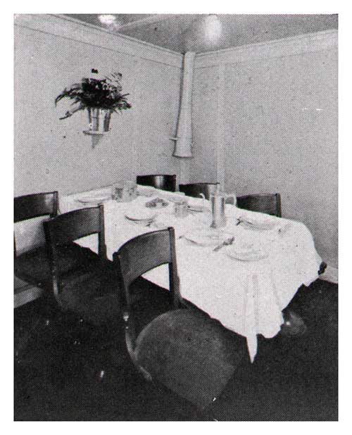 S. S. President Harding — One of the Small Private Tables — Third Class