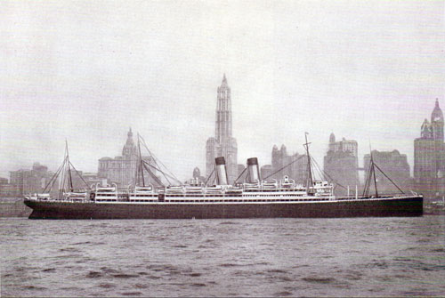 The ADRIATIC, largest of the White Star Line's Big Four passing the Skyscrappers of New York