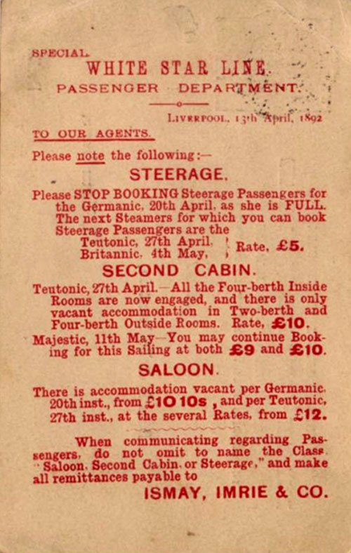 Notice To Booking Agents of the White Star Line - 1892