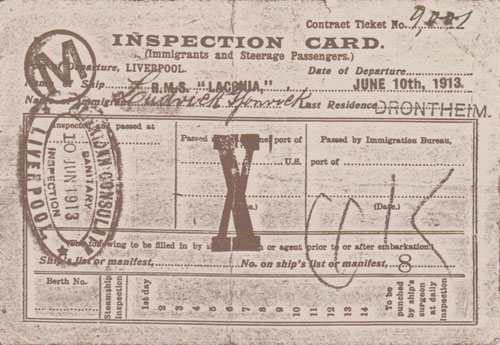 Inspection Card - Cunard Line Laconia - 1913 - Front