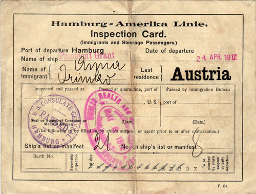 Immigrant Inspection Card - S.S. President Grant - 1912