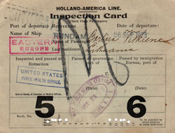 Holland-America Line Inspection Card (Third Class Passengers)