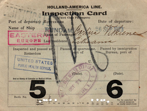 Immigrant Inspsection Card for Eastern European Passenger - 1923 (Front Side)