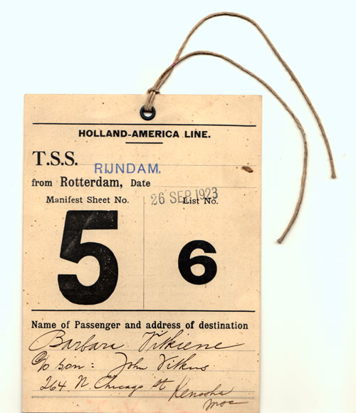 Outer garment Immigrant Identification Tag - 1923 (Front Side)