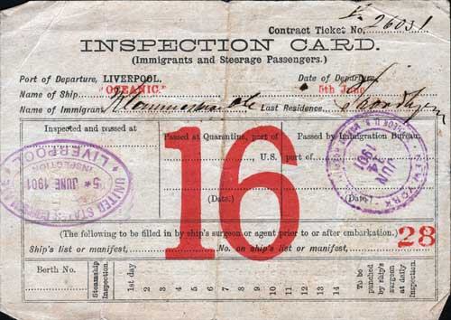 Immigrant Inspection Card Containing Their Name and Location on the Passenger Manifest