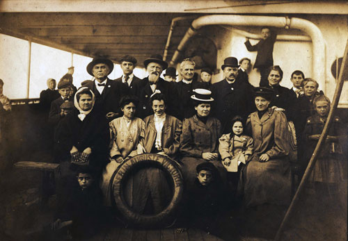 Immigrant Family Onboard Hamburg American Line Steamer
