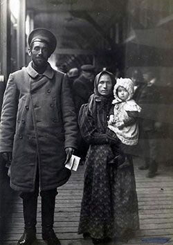 Dutch Immigrant Family Arrving in Steerage. Father, Mother, and Infant.