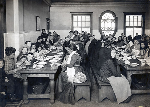 Immigrants Are Served a Meal at Ellis Island