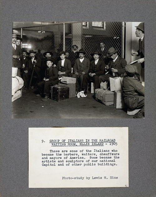 Italian Immigrants in the Railroad Waiting Room at Ellis Island