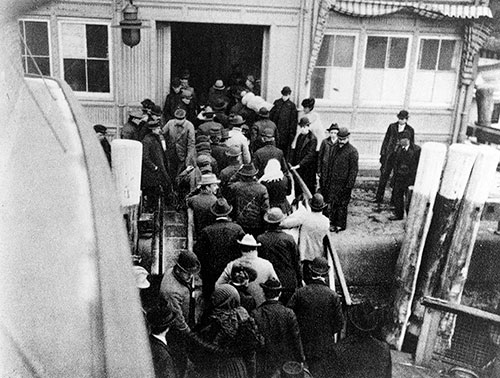 Immigrants Landing at the Battery after Ferry from Ellis Island ca 1902