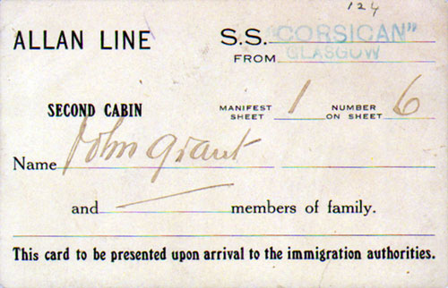 Immigration Card, Early 1900s, Allan Line S.S. Corsican, Second Cabin Passenger