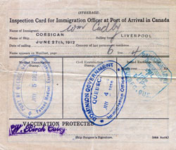 Inspection Card for Steerage Passenger and Immigrant to Canada (1912)