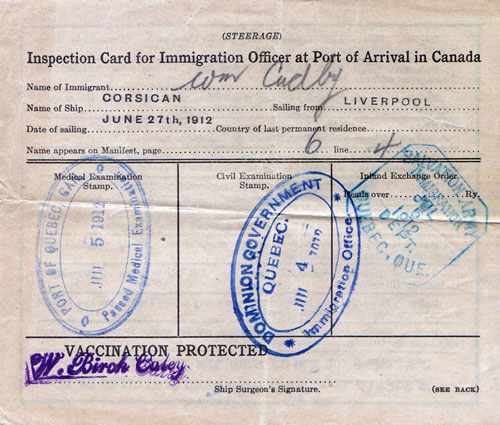 Inspection Card - Steerage Passenger, Allan Line S.S. Corsican, Canadian Immigrant