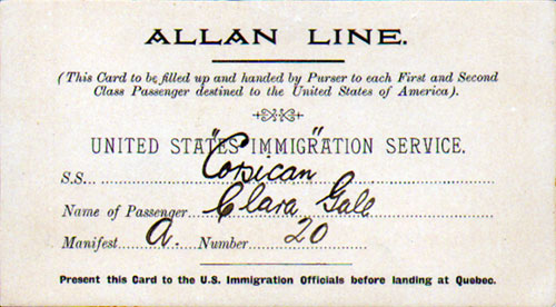 United States Immigration Landing Card - Canadian Port of Entry - 1907