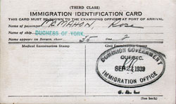 Canadian Immigration Identification Card - Third Class Passenger - 1939