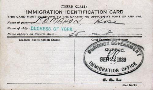 Canadian Immigration Identification Card - Third Class Passenger -1939 - Front Side