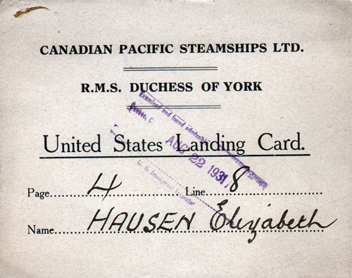 United States Landing Card, Canadian Pacific CPOS R.M.S. Duchess of York 1931
