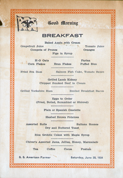 Breakfast Menu Card, S.S. American Farmer, American Merchant Lines, 1934