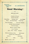 Breakfast Menu, Atlantic Transport Line S.S. Minnekahda 1928