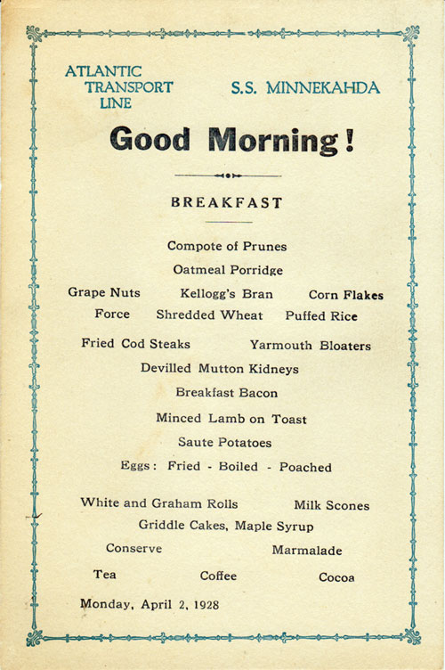 Menu Cover, Breakfast Menu, Atlantic Transport Line S.S. Minnekahda 1928