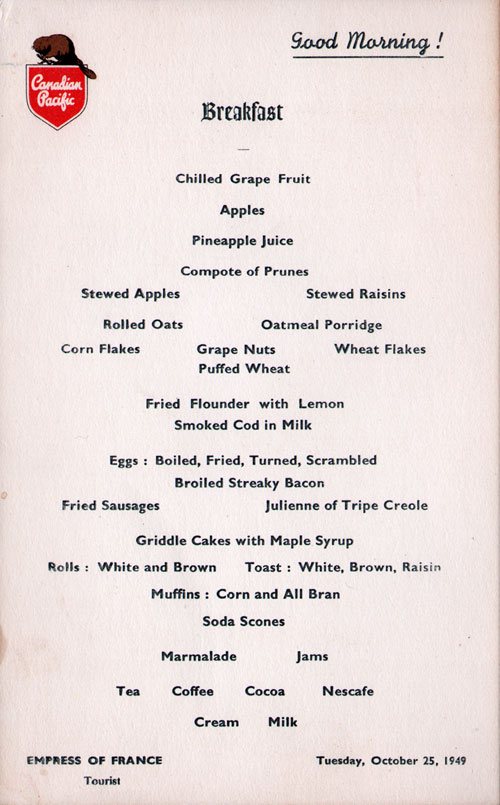 Menu Card - Breakfast Menu, S.S. Empress of France, Canadian Pacific, 25 October 1949, Tourist Class