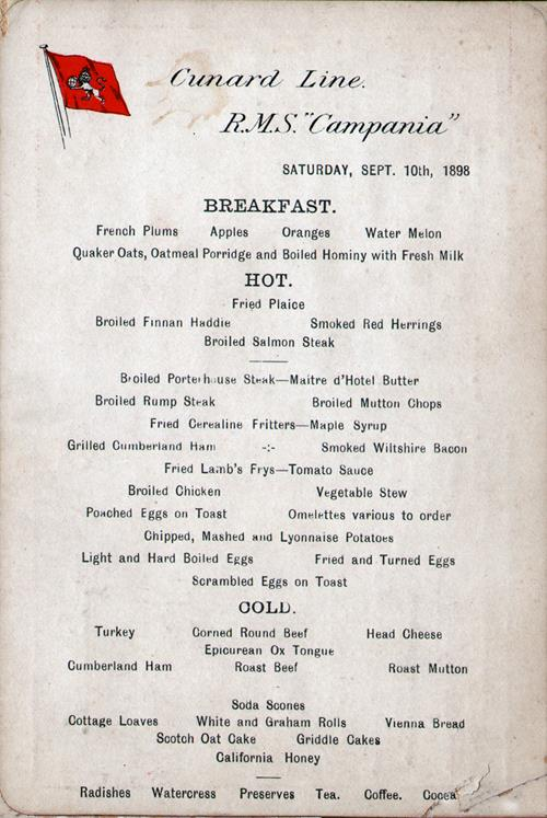 Breakfast Menu Card and Liquor/Tobacco List, R.M.S. Campania, Cunard Line, 1898