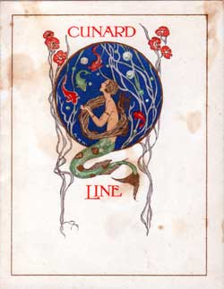 Children's Party Menu, Cunard Line R.M.S. Aquitania, 1924