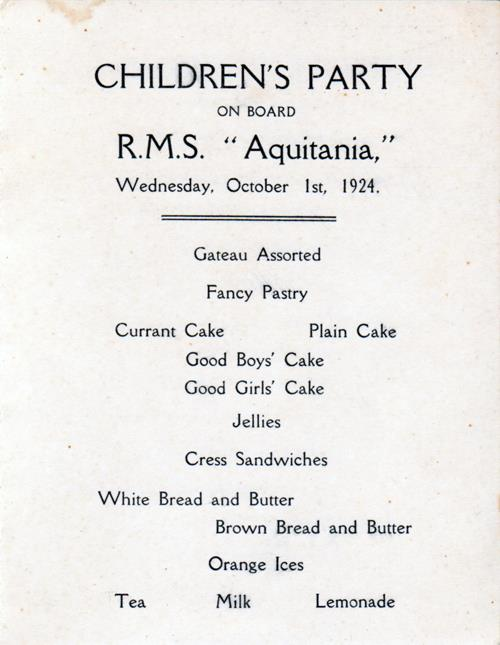 Menu Selections, Children's Party Menu, Cunard Line R.M.S. Aquitania, 1924