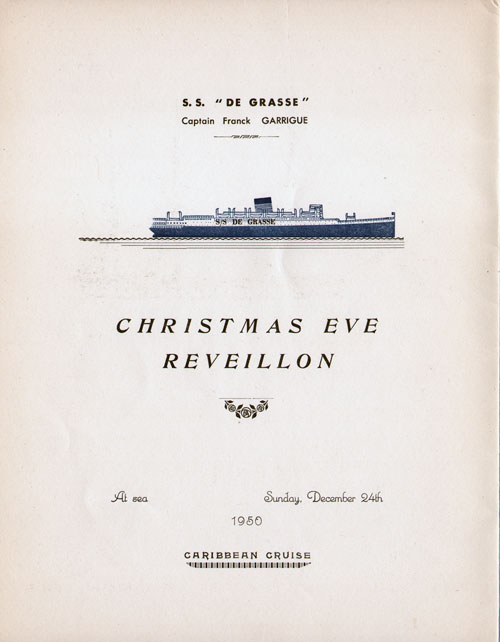 Title Page, Christmas Eve Reveillon Dinner Menu, S.S. De Grasse, CGT French Line (1950)