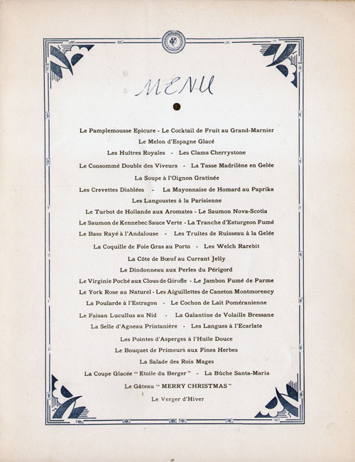 Menu Selections, Christmas Eve Reveillon Dinner Menu, S.S. De Grasse, CGT French Line (1950)