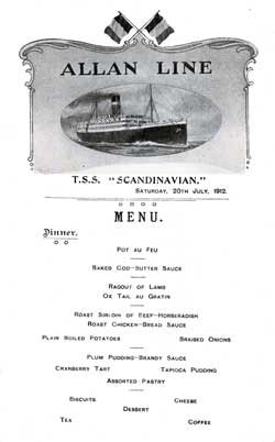 Allan Line Scandinavian Dinner Menu from 1912