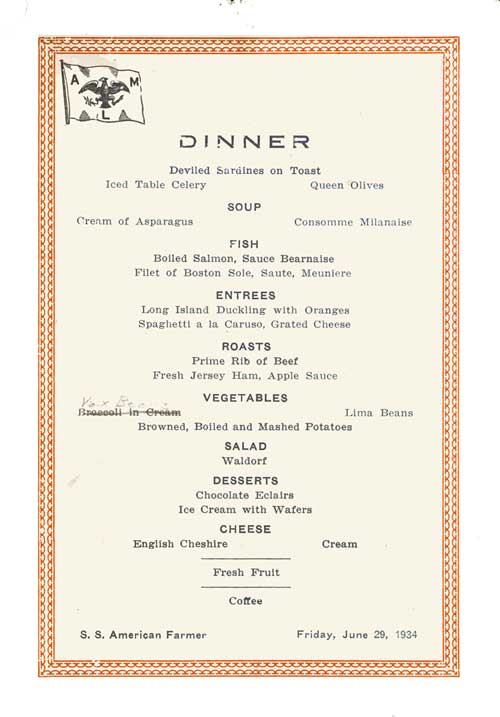 Dinner Menu Card, S.S. American Farmer, American Merchant Lines, 1934