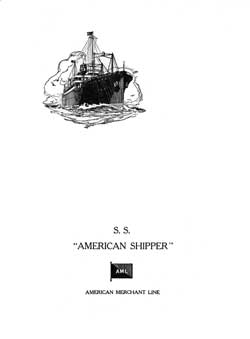 Dinner Menu, S.S. American Trader, American Merchant Lines, April 1929