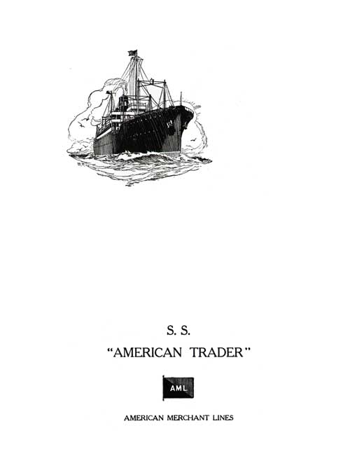 Front Cover, Farewell Dinner Menu, SS American Trader, American Merchant Lines, April 1929