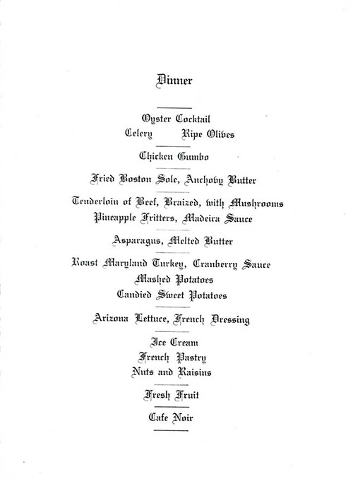 Menu Items, Farewell Dinner Menu, SS American Trader, American Merchant Lines, April 1929
