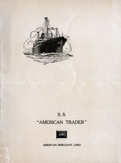 Farewell Dinner Menu, S.S. American Trader, American Merchant Lines, April 1929