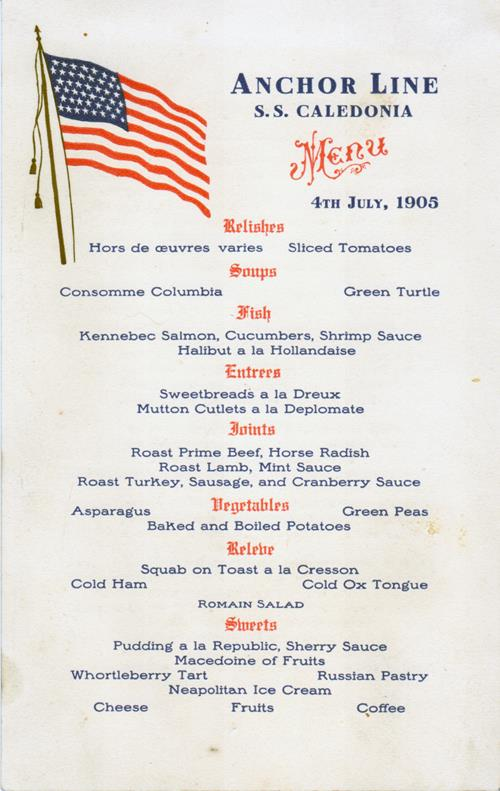 S s caledonia dinner menu card 4 july 1905 gg archives for Prime fish menu