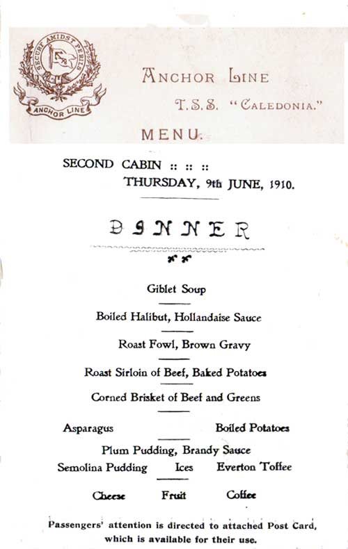 Menu Card from the Anchor Line T.S.S. Caledonia Second Cabin Dinner Menu, 1910