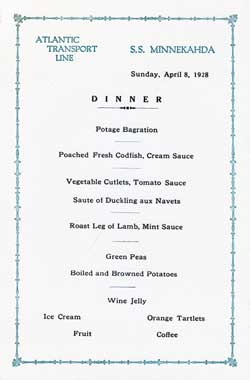 Dinner Menu, Atlantic Transport Line S.S. Minnekahda - 1928