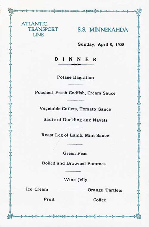 Menu Card for a Dinner Menu, Atlantic Transport Line S.S. Minnekahda - 1928