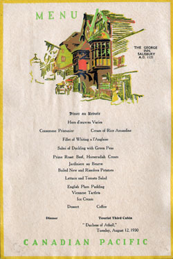 1930-08-12 Farewell Dinner Menu - Dutchess of Atholl