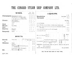 Dinner Menu, Second Cabin - RMS Ivernia of the Cunard Line 1902