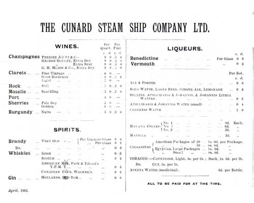 Vintage Wine List Menu Card  Cunard Line   Gg Archives