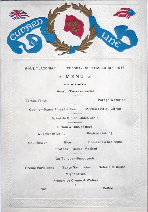 Menu Card - Dinner Menu R.M.S. Laconia 8 September 1914