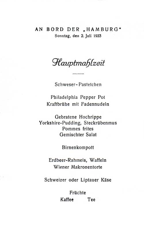 Menu items, S.S. Hamburg, 1933