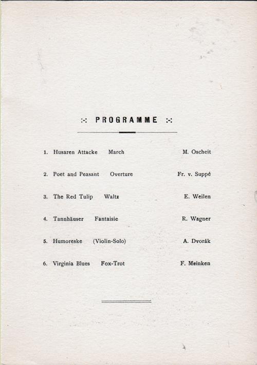 Back Menu Cover, Dinner Menu and Music Program, R.M.S. Ryndam, Holland-America, 1922