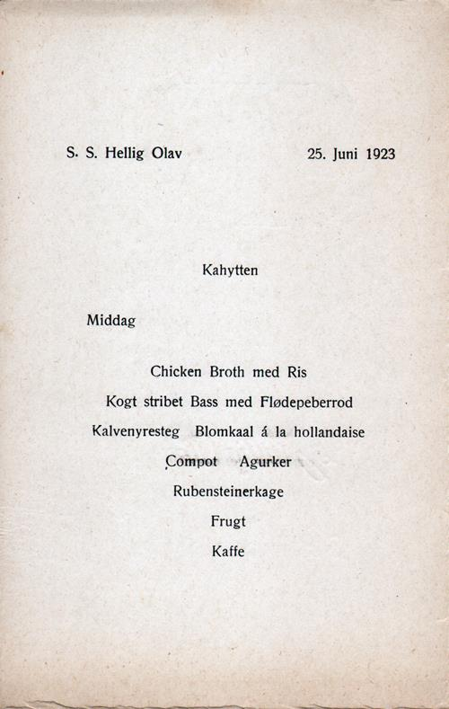 Menu Cover, Dinner Menu, S.S. Hellig Olav, Scandinavian American Line, June 1923